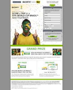 Sony World Cup Sweepstakes Microsite